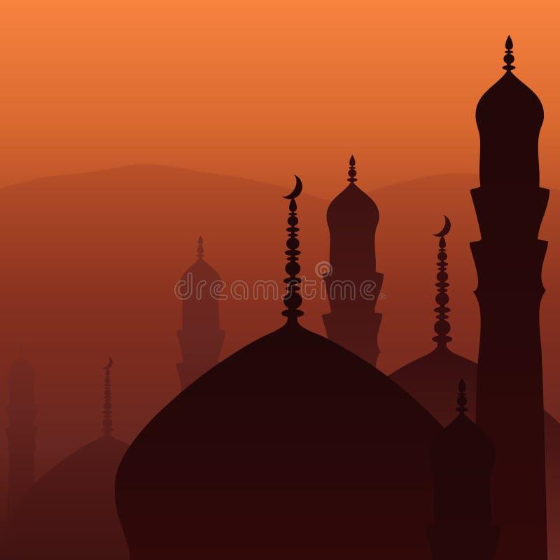 Por do sol árabe ilustração royalty free