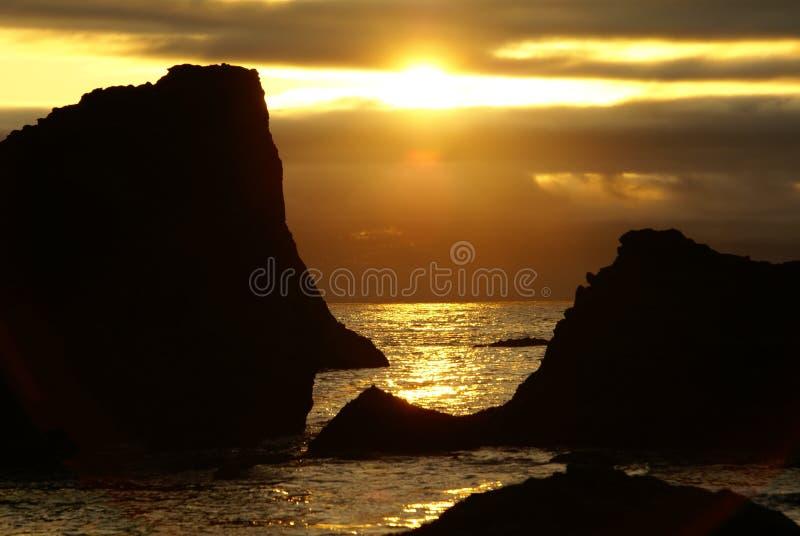 Por do sol 2 da costa de Oregon imagens de stock