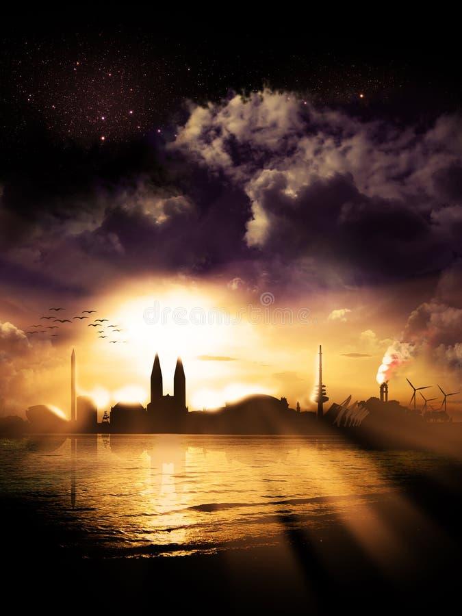 Por do sol 2 da silhueta da cidade de Brema ilustração do vetor