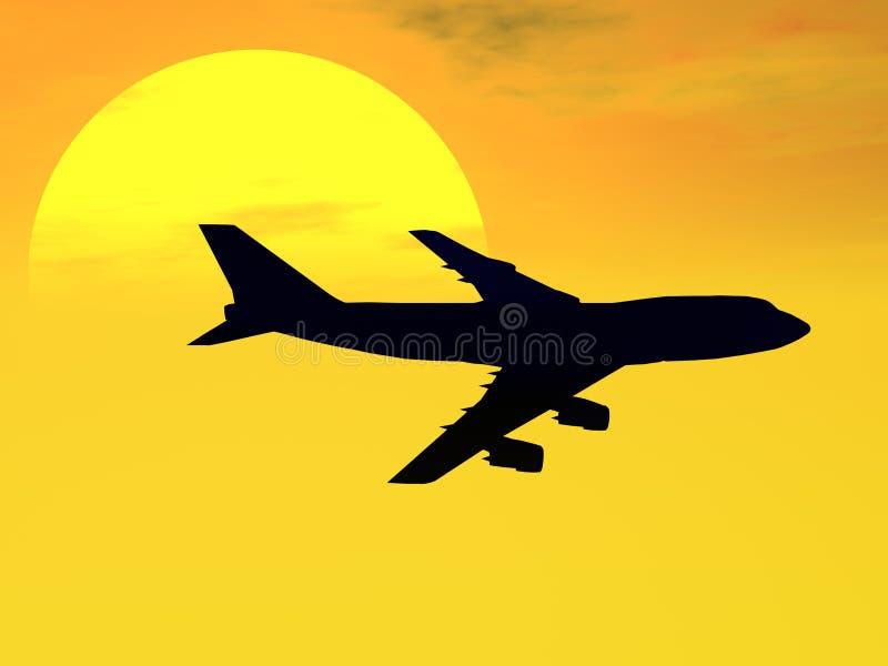 Por do sol 747 ilustração stock