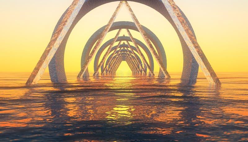 Por do sol abstrato da geometria ilustração do vetor