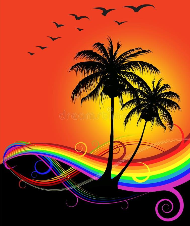 Por do sol abstrato na praia ilustração stock