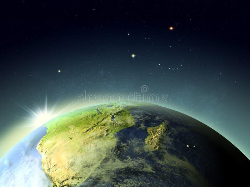 Por do sol acima de África do Sul do espaço ilustração do vetor