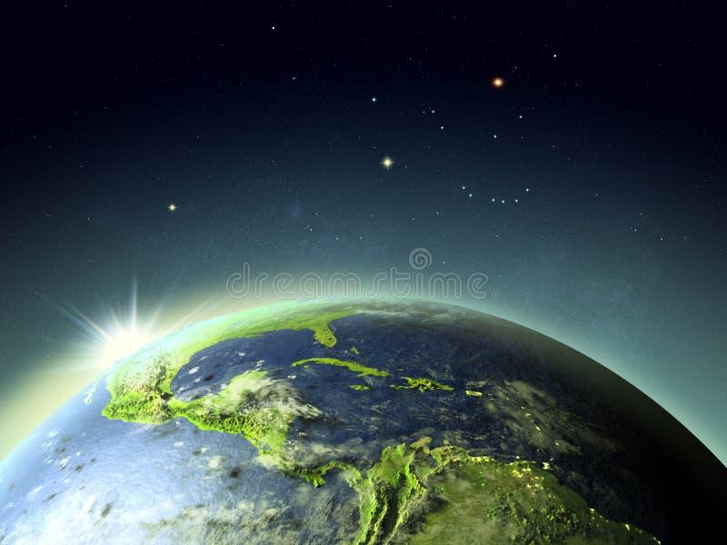 Por do sol acima de América Central do espaço ilustração do vetor