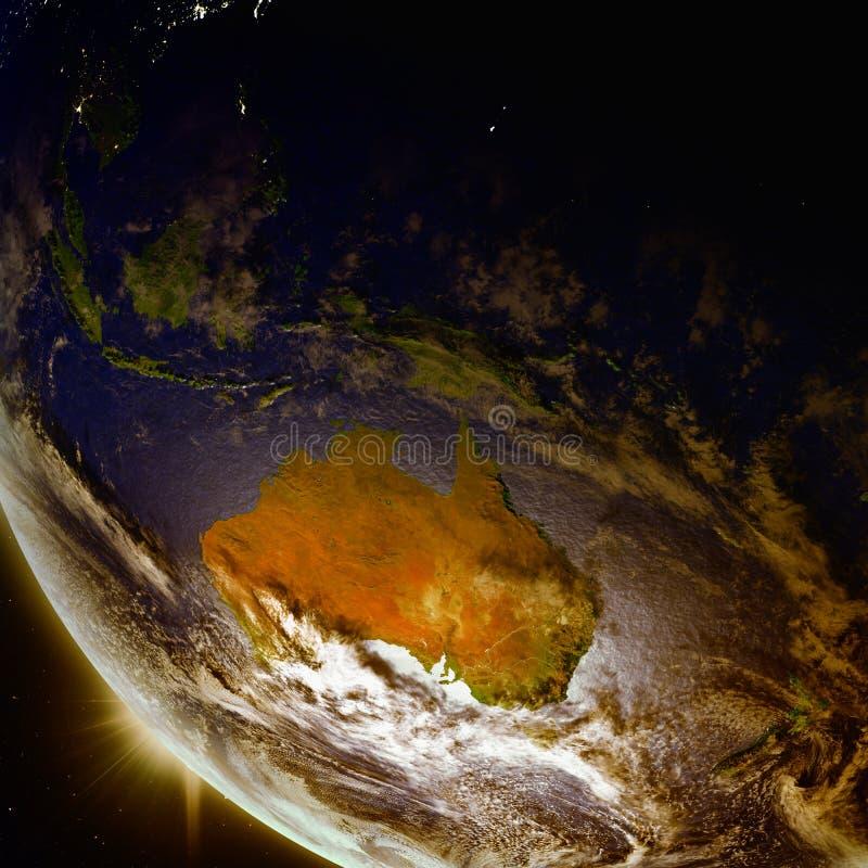 Por do sol acima de Austrália do espaço ilustração stock