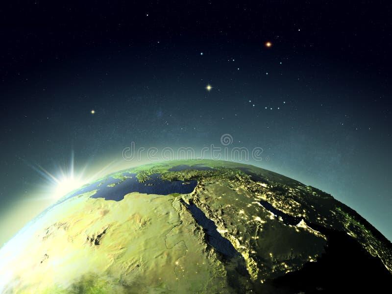 Por do sol acima de Médio Oriente do espaço ilustração royalty free