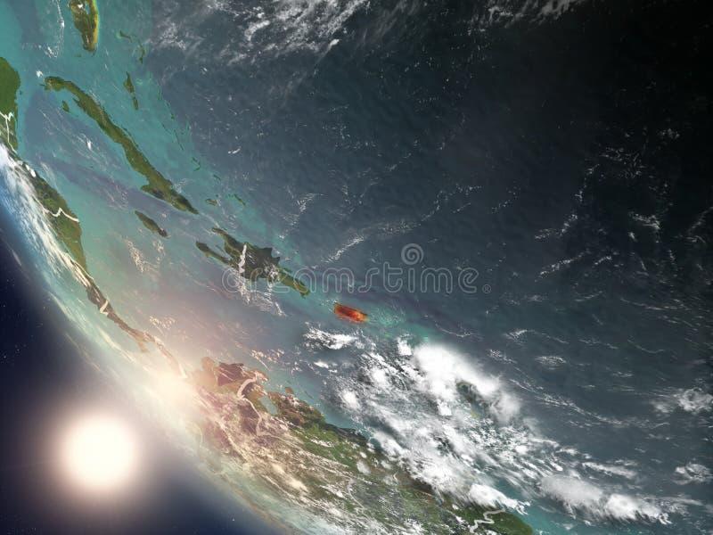 Por do sol acima de Porto Rico do espaço ilustração stock