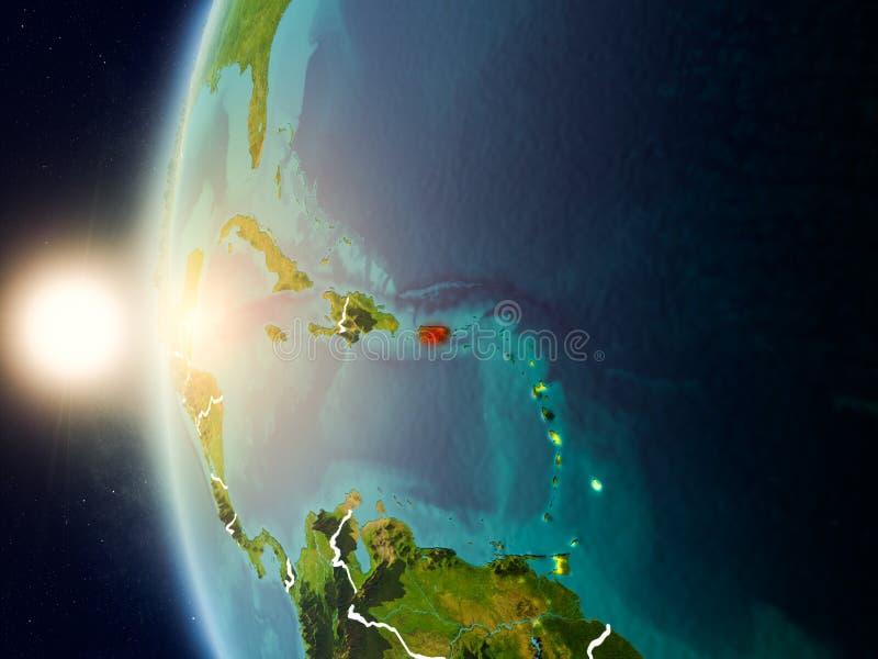 Por do sol acima de Porto Rico do espaço ilustração royalty free