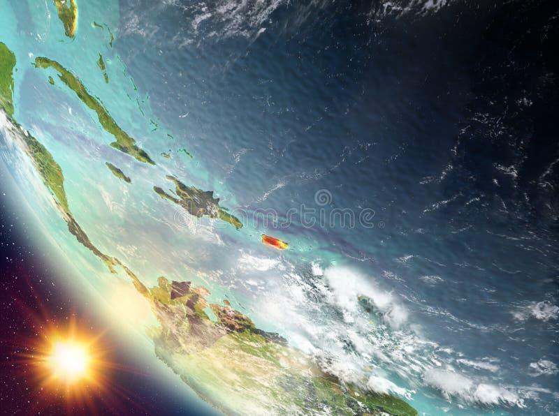 Por do sol acima de Porto Rico na terra ilustração royalty free