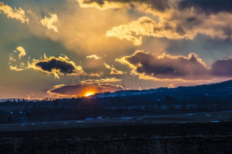 Por do sol alto de Tatras foto de stock royalty free