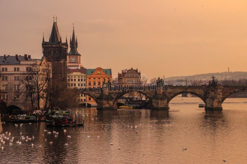 Por do sol amarelo sobre o rio de Vltava imagens de stock royalty free