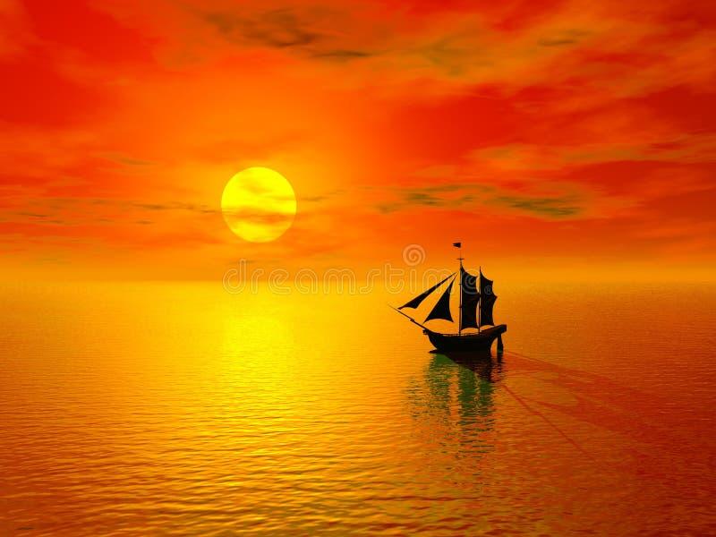 Por do sol & barco ilustração do vetor