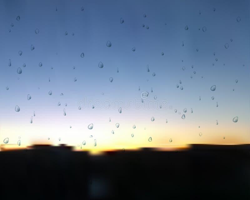 Por do sol após o vetor da chuva Gotas da água no vidro Pulverizador no pôr do sol ilustração royalty free
