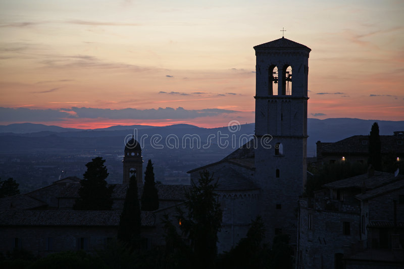 Por do sol Assisi imagem de stock royalty free