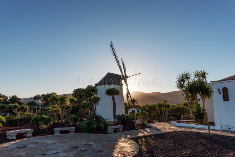 Por do sol atrás do moinho de vento em Fuerteventura Ilhas Canárias fotografia de stock royalty free