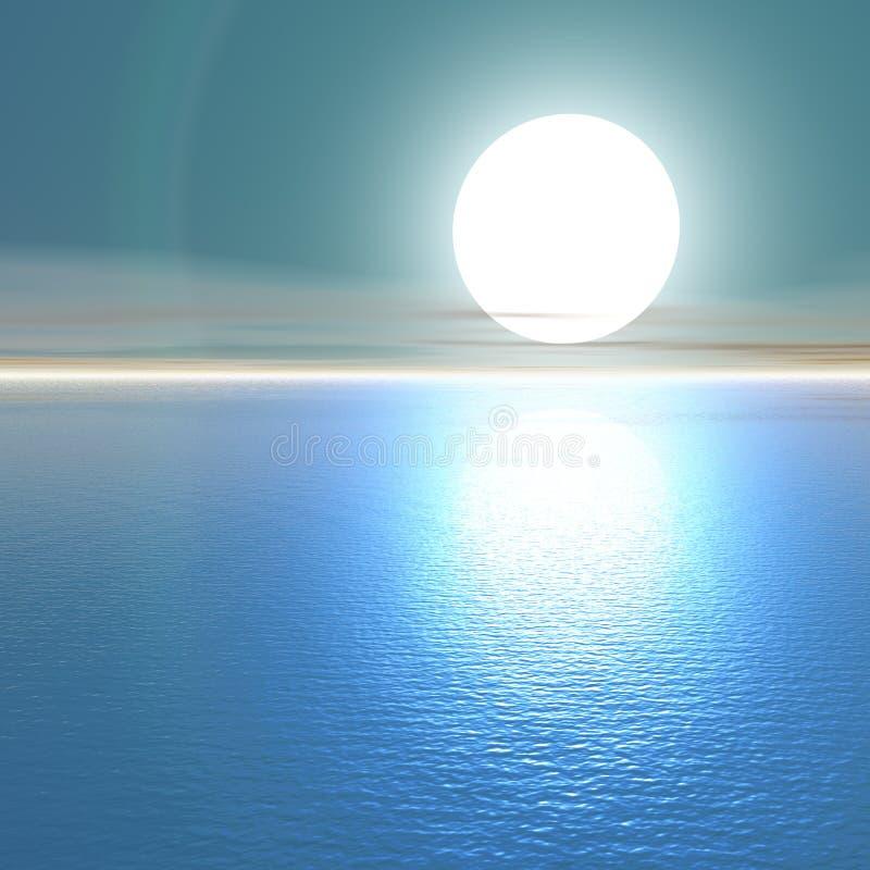 Por do sol azul. ilustração do vetor