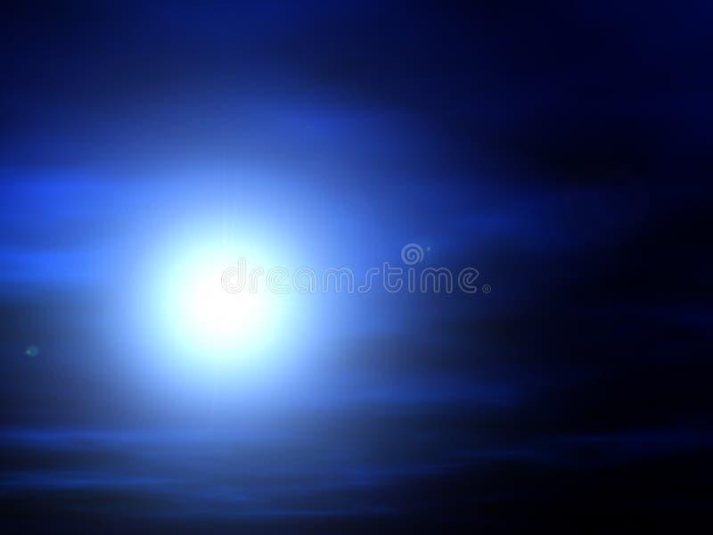 Por do sol azul ilustração do vetor