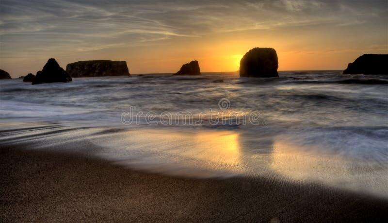 Por do sol Bandon Oregon fotografia de stock
