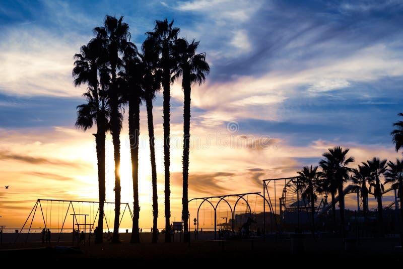 Por do sol bonito atrav?s das palmeiras Praia de Santa Monica, Calif?rnia, EUA imagens de stock royalty free