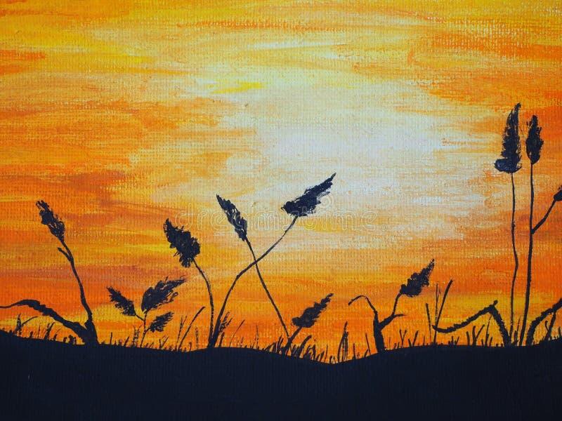 Por do sol bonito com as plantas pretas, pintadas com pinturas foto de stock