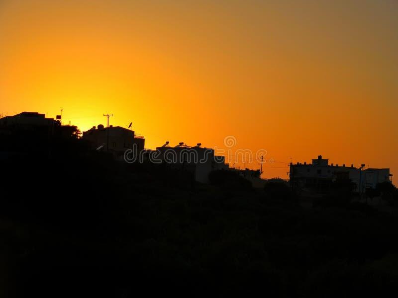 Por do sol bonito do Cretan imagem de stock royalty free
