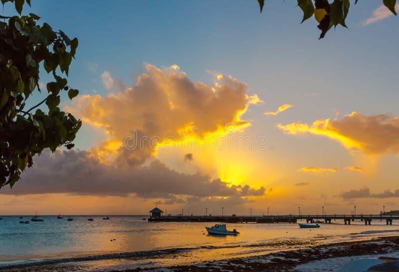 Por do sol bonito e praia em Barbados tropical fotografia de stock royalty free
