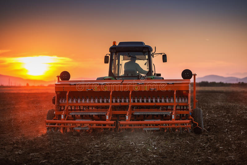 Por do sol bonito, fazendeiro no trator que prepara a terra com sementeira fotos de stock royalty free