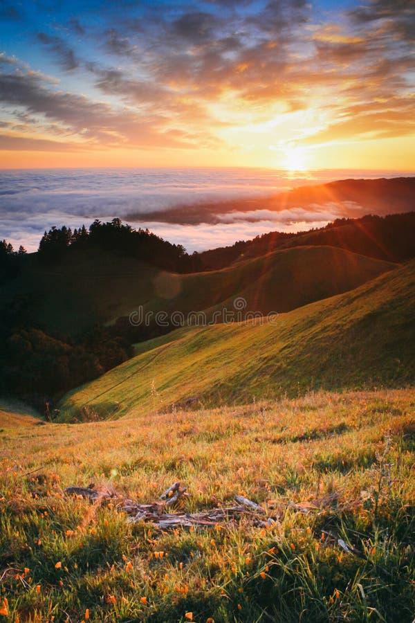 Por do sol bonito que olha da montagem Tamalpais fotografia de stock royalty free