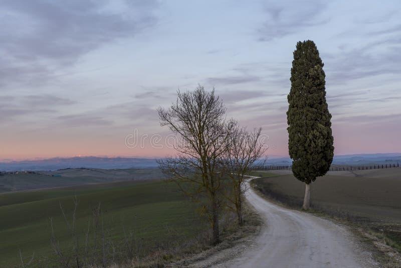 Por do sol bonito sobre o campo Tuscan na área de Ville di Corsano, Siena, Itália foto de stock