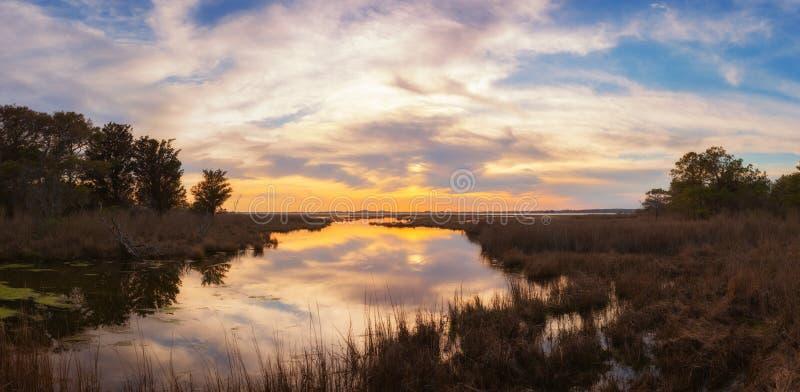 Por do sol bonito sobre pantanais na ilha de Assateague imagens de stock