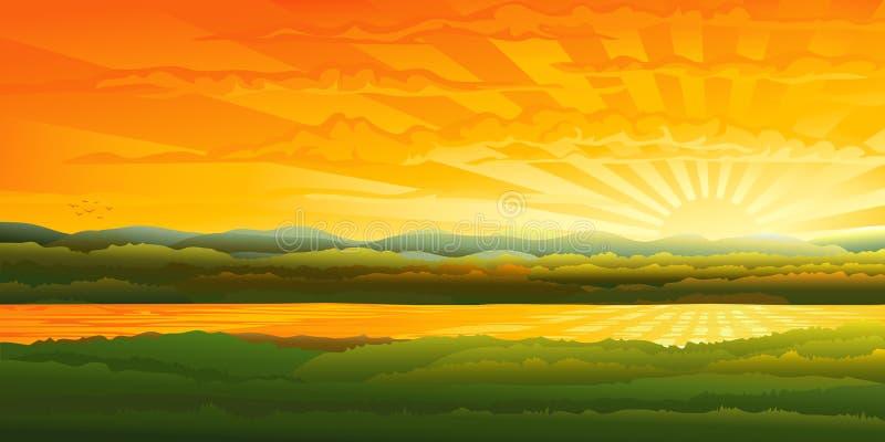 Por do sol bonito sobre um rio ilustração stock