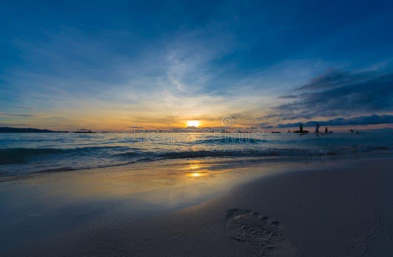 Por do sol Boracay Filipinas fotografia de stock