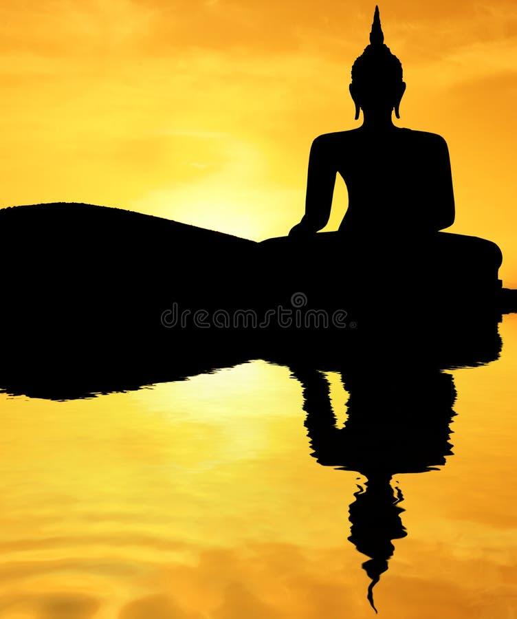 Por do sol Buddha fotografia de stock royalty free