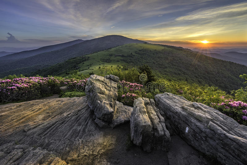 Por do sol cênico, Roan Highlands, Tnnessee imagens de stock royalty free