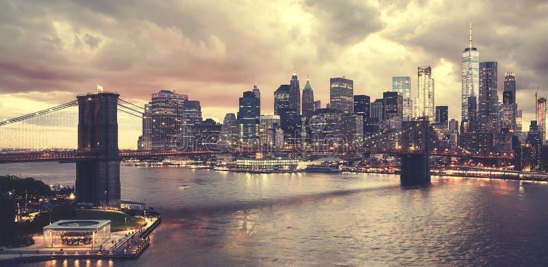 Por do sol cênico sobre New York City, EUA fotografia de stock royalty free