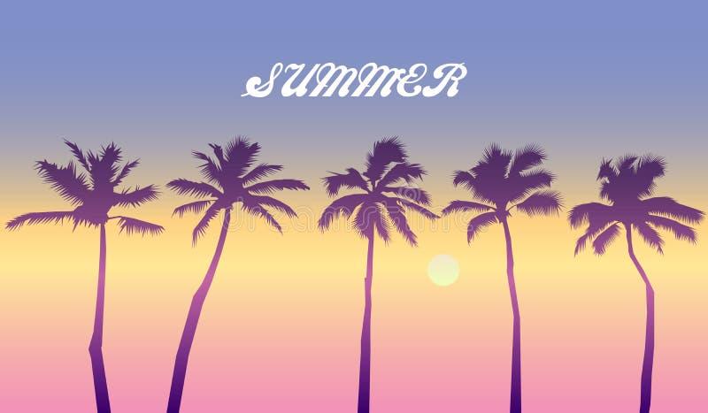 Por do sol c?nico na praia tropical com palmeiras noite na ilustração do vetor do mar ilustração royalty free
