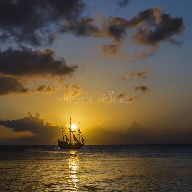 Por do sol do caimão foto de stock royalty free