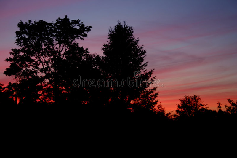 Por Do Sol Colorido Imagem de Stock
