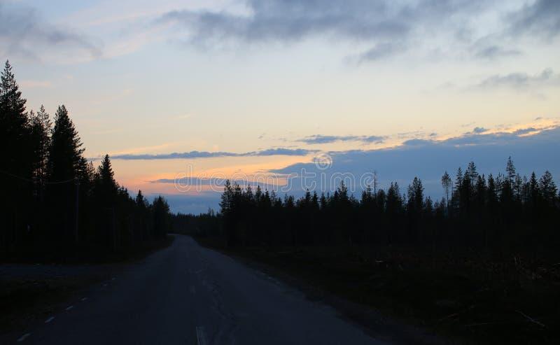 Por do sol colorido claro e paisagem escura na Su?cia do norte fotos de stock royalty free