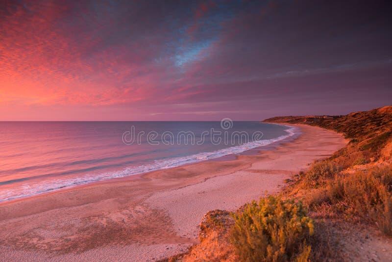 Por do sol colorido do Sul da Austrália da praia do Maslin imagem de stock royalty free