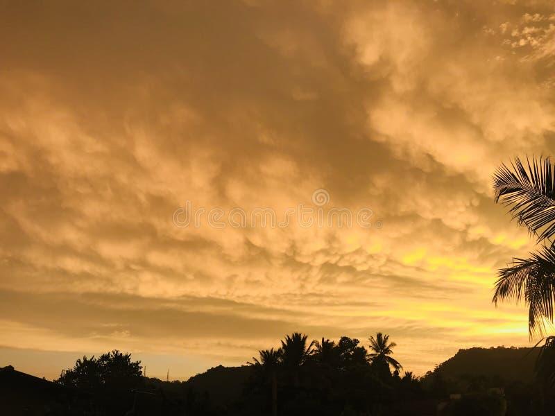 Por do sol com as nuvens douradas em Sri Lanka fotografia de stock