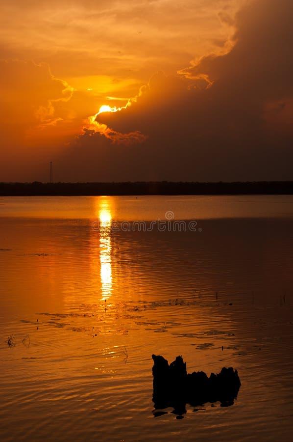 Por do sol com luz e a nuvem douradas foto de stock