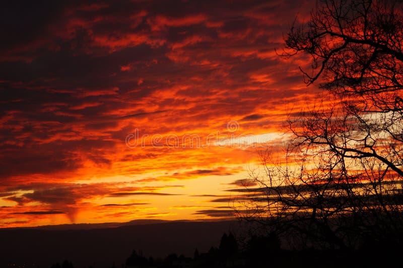 Por do sol com nuvens fotos de stock royalty free