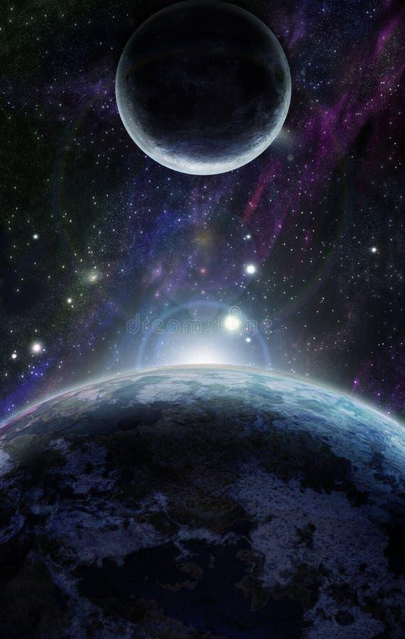 Por do sol com o planeta de dois azuis ilustração royalty free