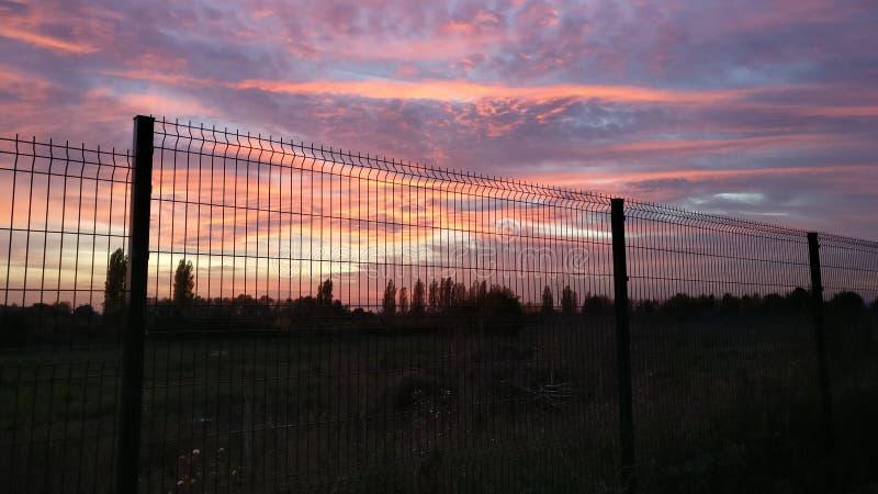 Por do sol cor-de-rosa alaranjado e nuvens do céu imagens de stock