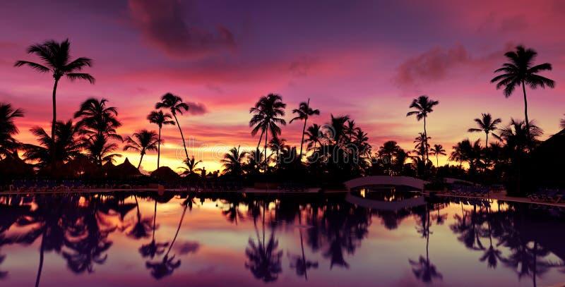 Por do sol cor-de-rosa de Pnorama e vermelho azul sobre a praia do mar imagens de stock royalty free