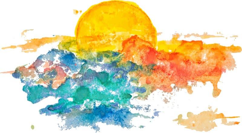 Por do sol da aquarela, alvorecer, sol amarelo ilustração royalty free