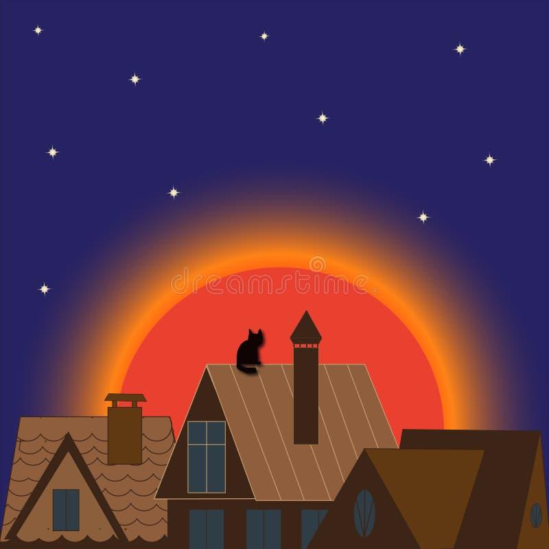 Por do sol da arquitetura da lua da construção da noite da cidade a noite imagem de stock