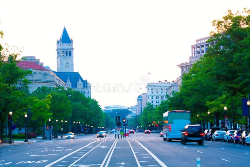 Por do sol da avenida de Pensilvânia no Washington DC foto de stock royalty free