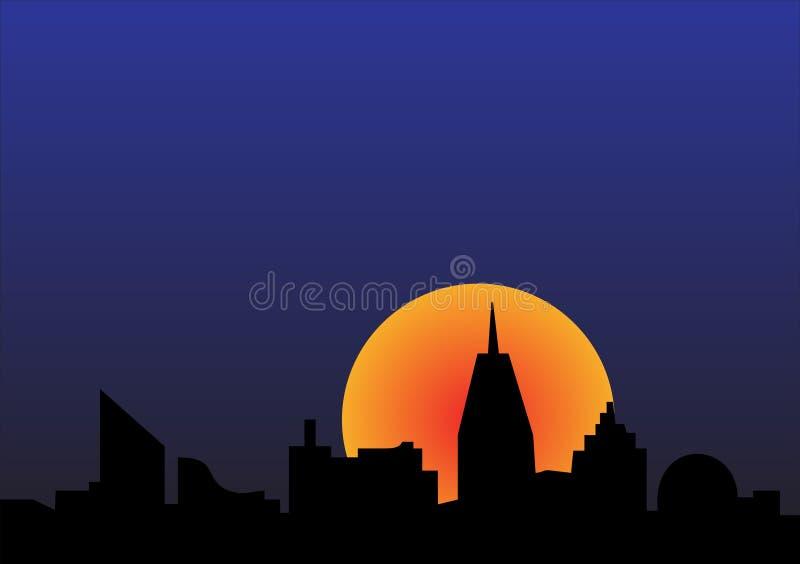 Por do sol da cidade ilustração do vetor